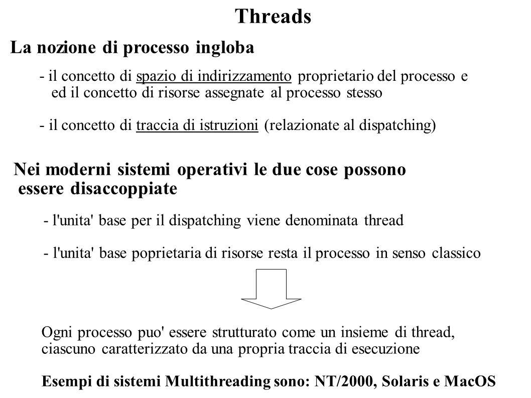 Ambiente multithreading Caratteristiche di un processo - spazio di indirizzamento virtuale (immagine del processo) - protezione e permessi di accesso a risorse (files etc.) Caratteristiche di un thread - stato corrente (Running, Ready, etc.) - stack di esecuzione e variabili locali al thread (distinte dalla memoria di processo) - in caso il thread non sia nello stato Running, un contesto salvato (valore del registro program counter etc.) Modello classico PCB Stack Address space Modello multithreading PCB Address space Stack TCB Thread AThread B