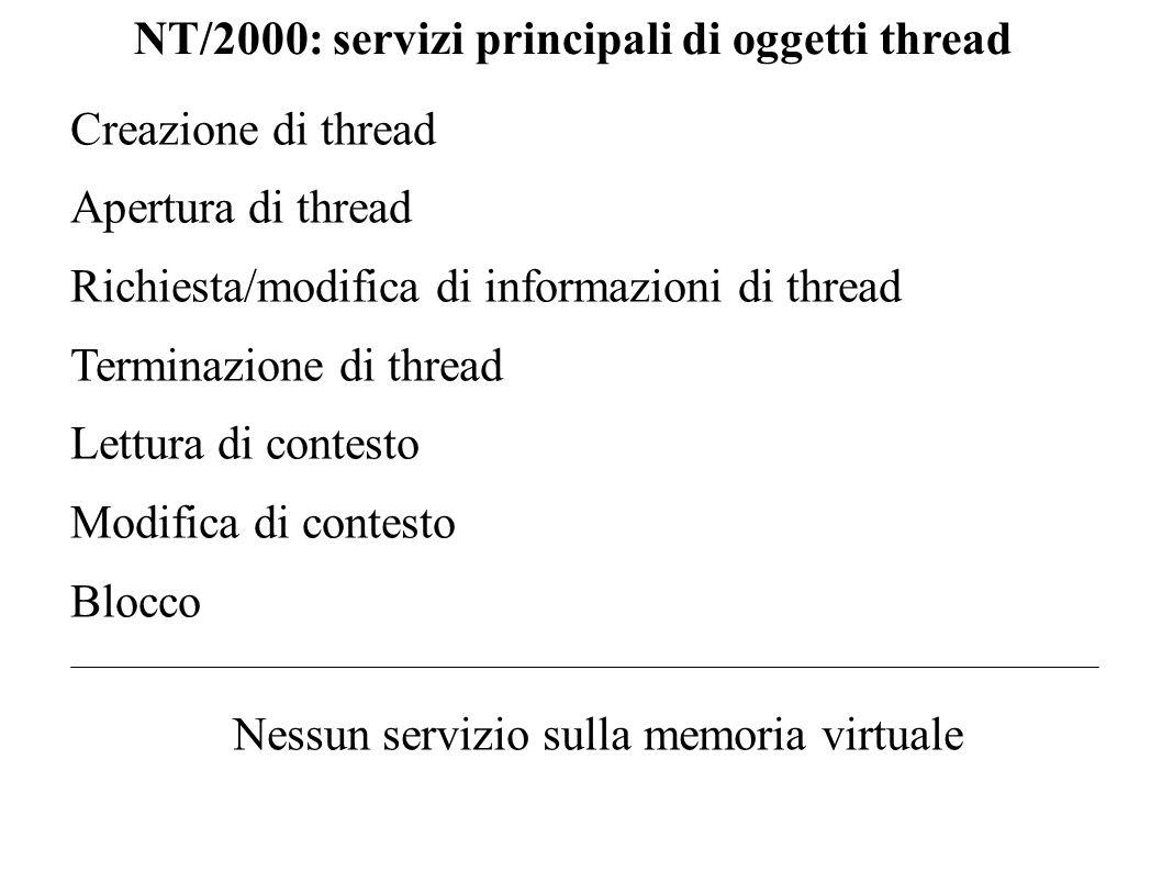 Creazione di un thread BOOL CreateThread(LPSECURITY_ATTRIBUTES lpThreadAttributes, SIZE_T dwStackSize, LPTHREAD_START_ROUTINE lpStartAddress, LPvoid lpParameter, DWORD dwCreationFlags, LPDWORD lpTreadId) Descrizione invoca lattivazione di un nuovo thread Restituzione un handle al nuovo thread in caso di successo, NULL in caso di fallimento.