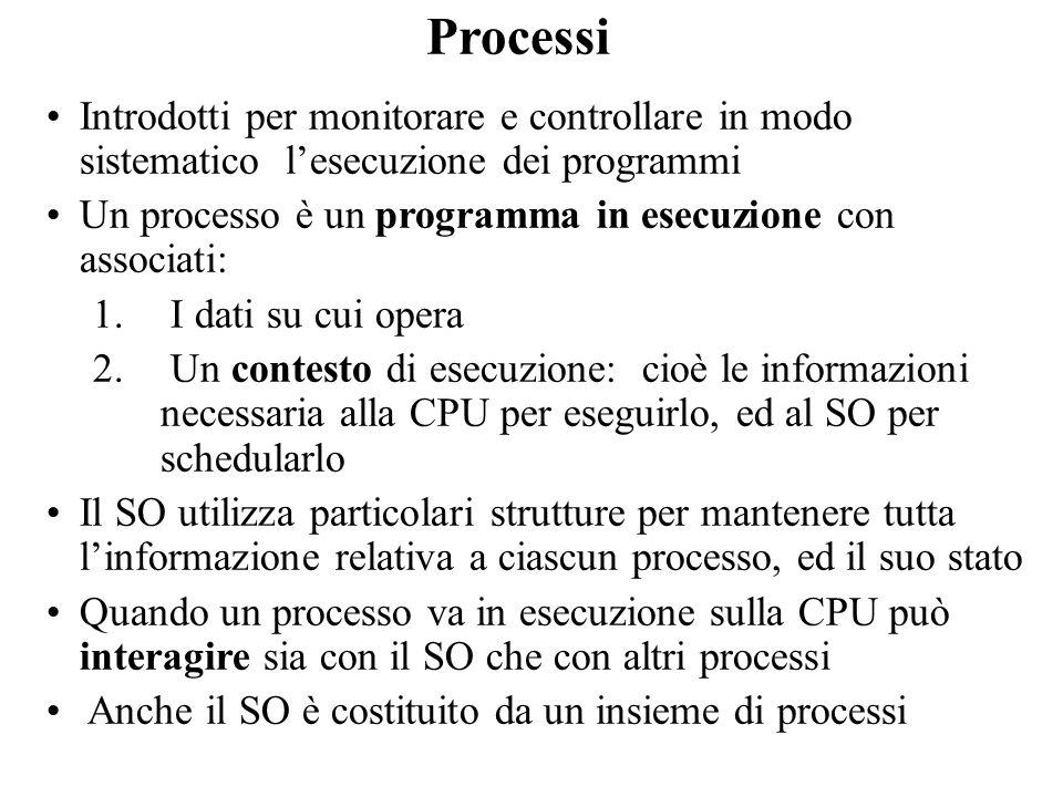 Processi Introdotti per monitorare e controllare in modo sistematico lesecuzione dei programmi Un processo è un programma in esecuzione con associati: