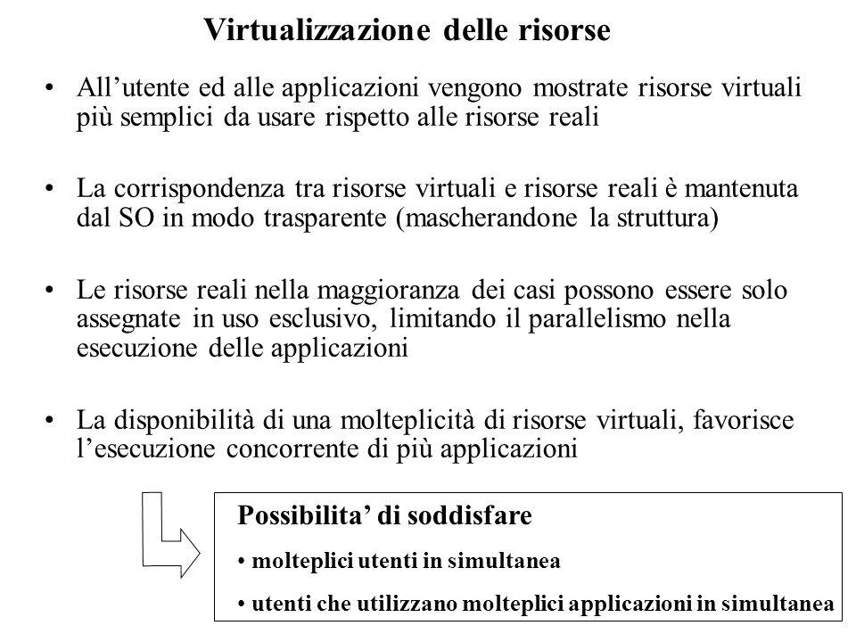 Virtualizzazione delle risorse Allutente ed alle applicazioni vengono mostrate risorse virtuali più semplici da usare rispetto alle risorse reali La c