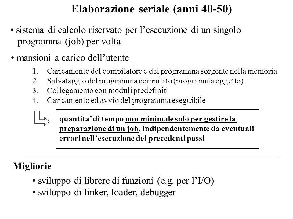 Elaborazione seriale (anni 40-50) sistema di calcolo riservato per lesecuzione di un singolo programma (job) per volta 1.Caricamento del compilatore e