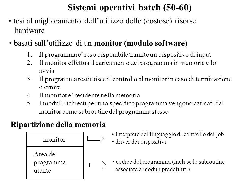 Sistemi operativi batch (50-60) tesi al miglioramento dellutilizzo delle (costose) risorse hardware 1.Il programma e reso disponibile tramite un dispo
