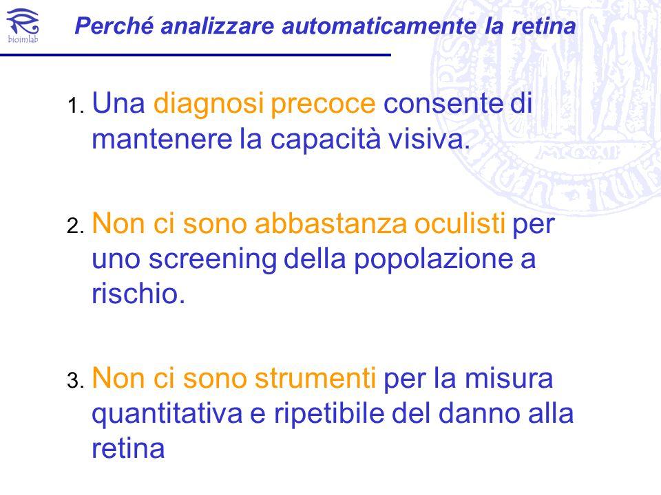 Perché analizzare automaticamente la retina 1. Una diagnosi precoce consente di mantenere la capacità visiva. 2. Non ci sono abbastanza oculisti per u