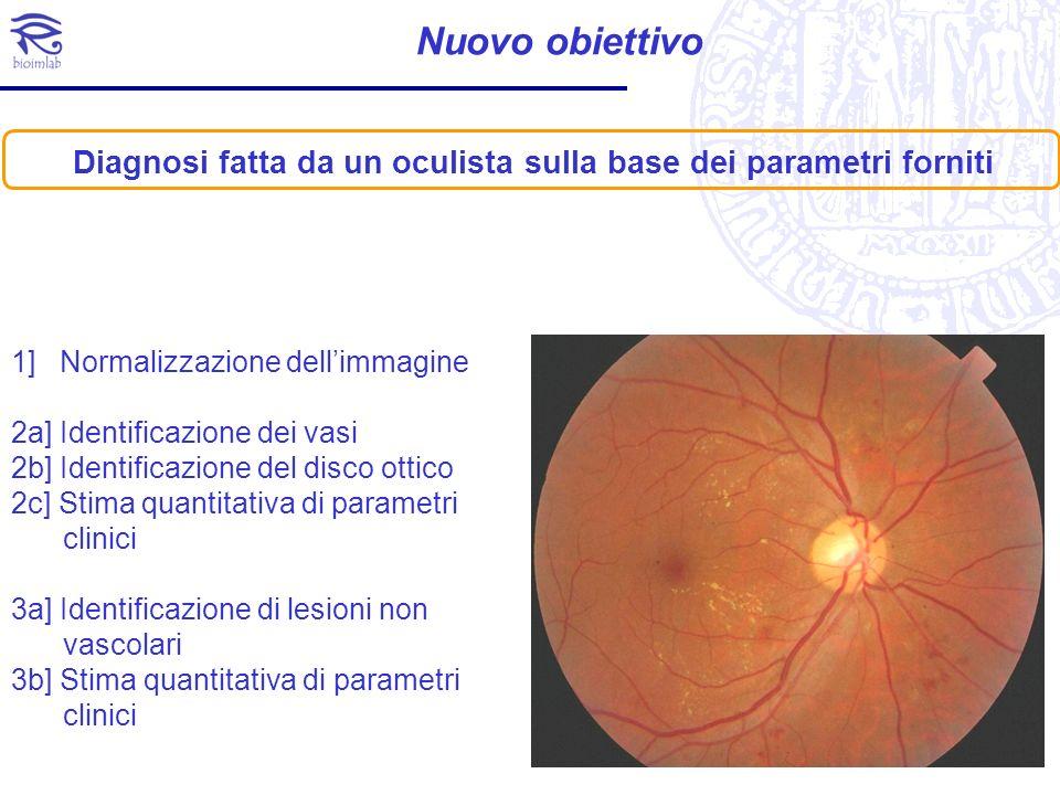 Nuovo obiettivo 1] Normalizzazione dellimmagine 2a] Identificazione dei vasi 2b] Identificazione del disco ottico 2c] Stima quantitativa di parametri