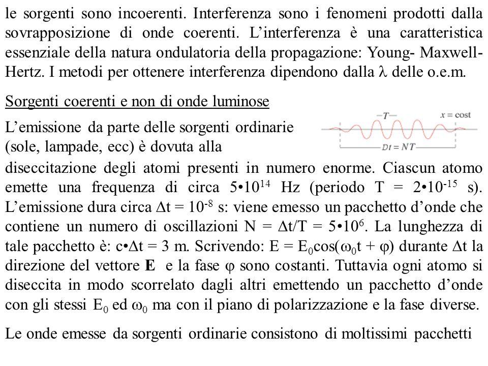le sorgenti sono incoerenti. Interferenza sono i fenomeni prodotti dalla sovrapposizione di onde coerenti. Linterferenza è una caratteristica essenzia
