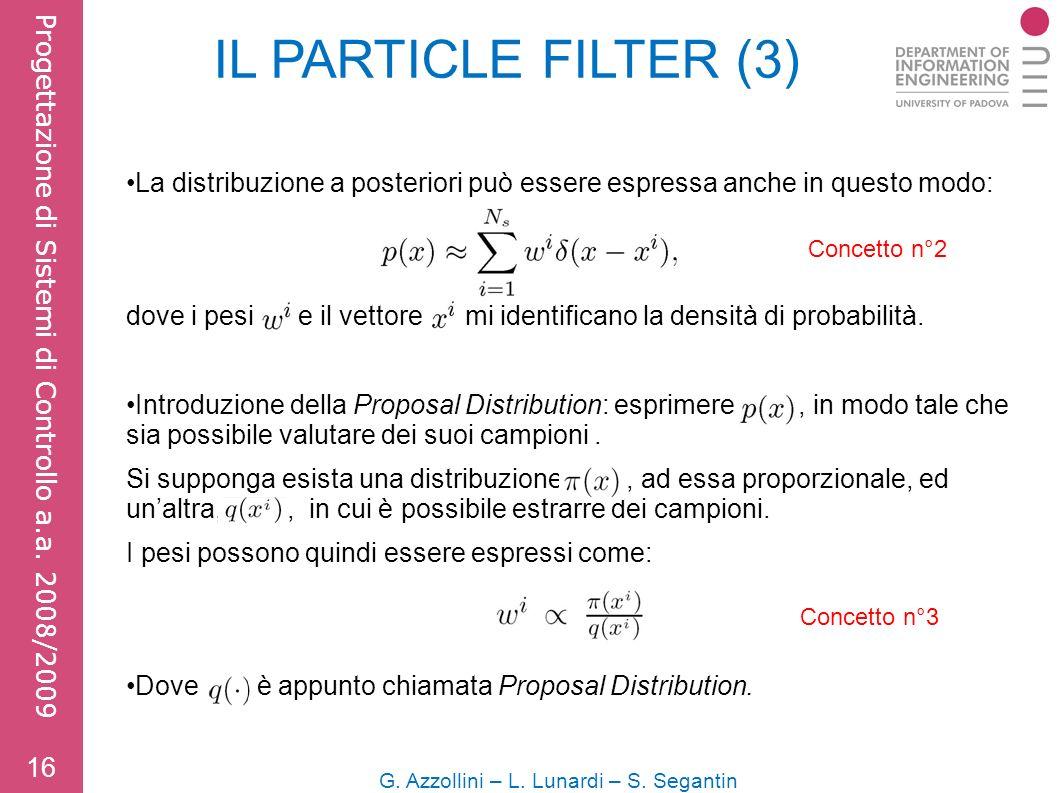 IL PARTICLE FILTER (3) La distribuzione a posteriori può essere espressa anche in questo modo: dove i pesi e il vettore mi identificano la densità di probabilità.