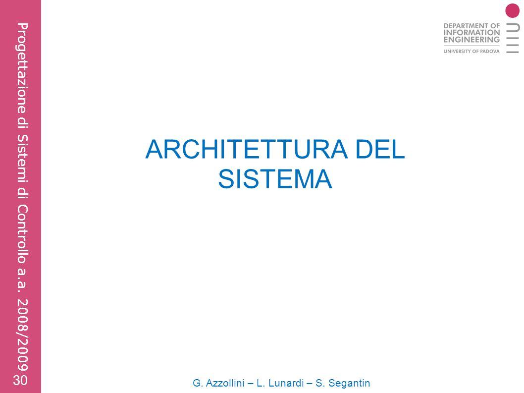 ARCHITETTURA DEL SISTEMA G. Azzollini – L. Lunardi – S.