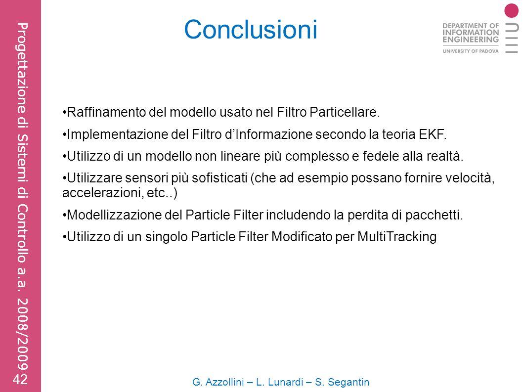 Conclusioni G. Azzollini – L. Lunardi – S. Segantin 42 Progettazione di Sistemi di Controllo a.a.