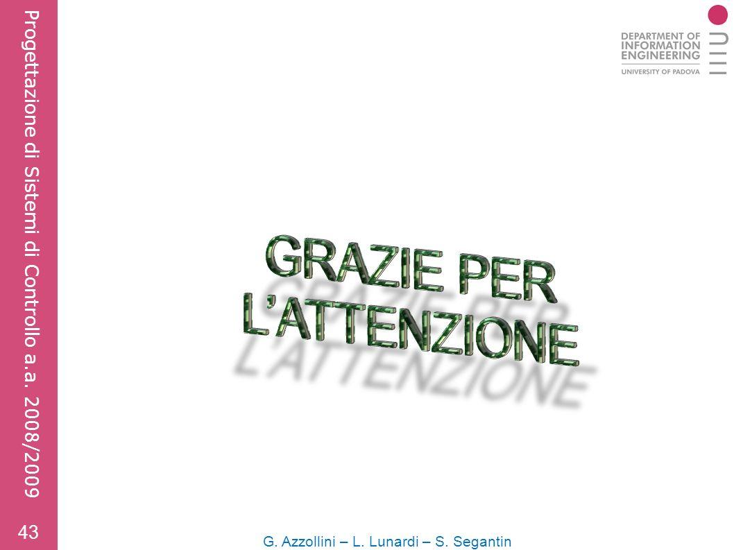 43 G. Azzollini – L. Lunardi – S. Segantin Progettazione di Sistemi di Controllo a.a. 2008/2009