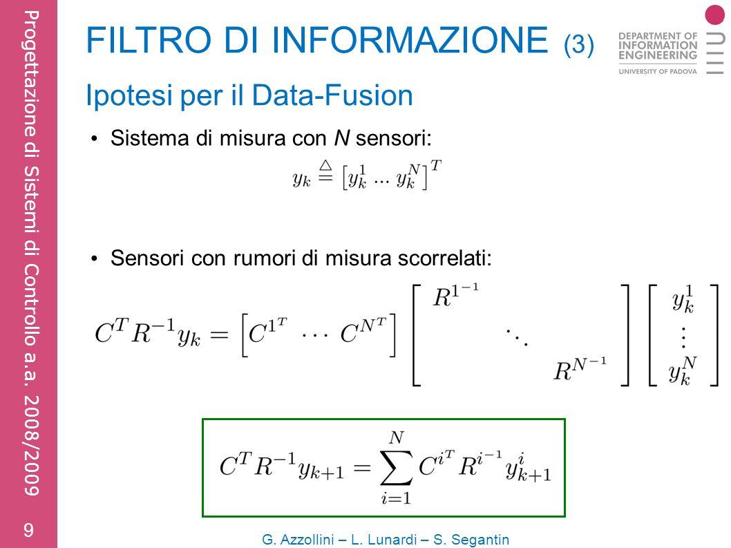 FILTRO DI INFORMAZIONE (3) 9 G. Azzollini – L. Lunardi – S.