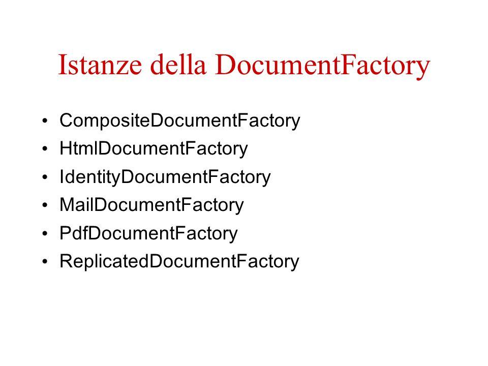Istanze della DocumentFactory CompositeDocumentFactory HtmlDocumentFactory IdentityDocumentFactory MailDocumentFactory PdfDocumentFactory ReplicatedDocumentFactory