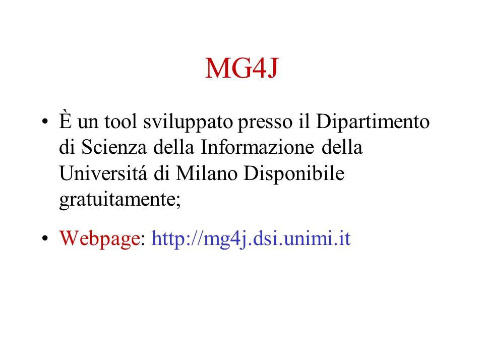 MG4J È un tool sviluppato presso il Dipartimento di Scienza della Informazione della Universitá di Milano Disponibile gratuitamente; Webpage: http://mg4j.dsi.unimi.it