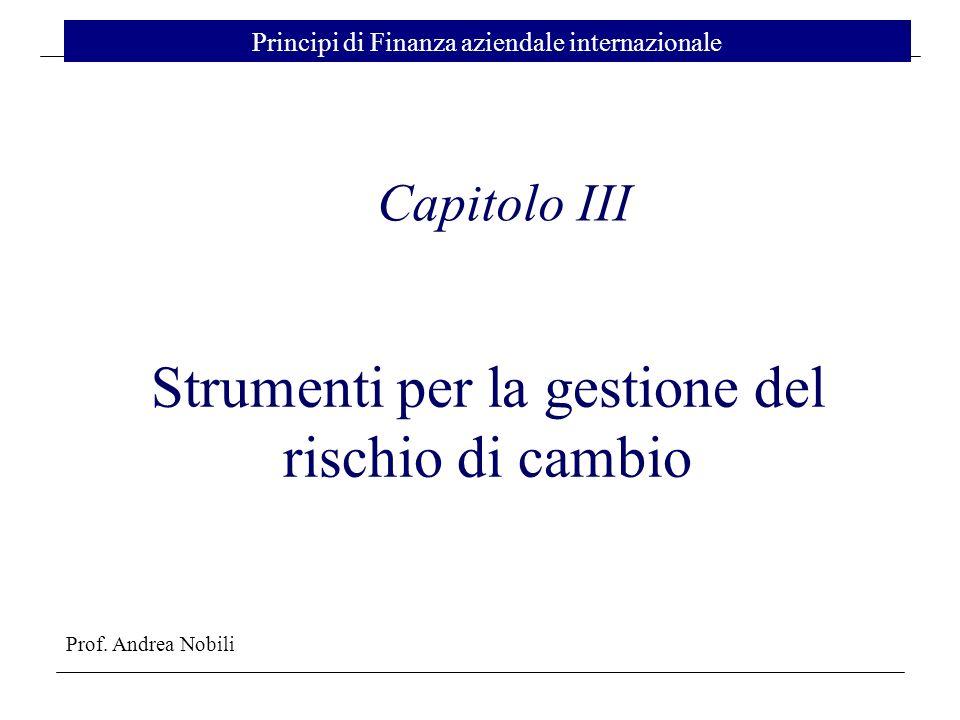 Prof. Andrea Nobili Principi di Finanza aziendale internazionale Capitolo III Strumenti per la gestione del rischio di cambio