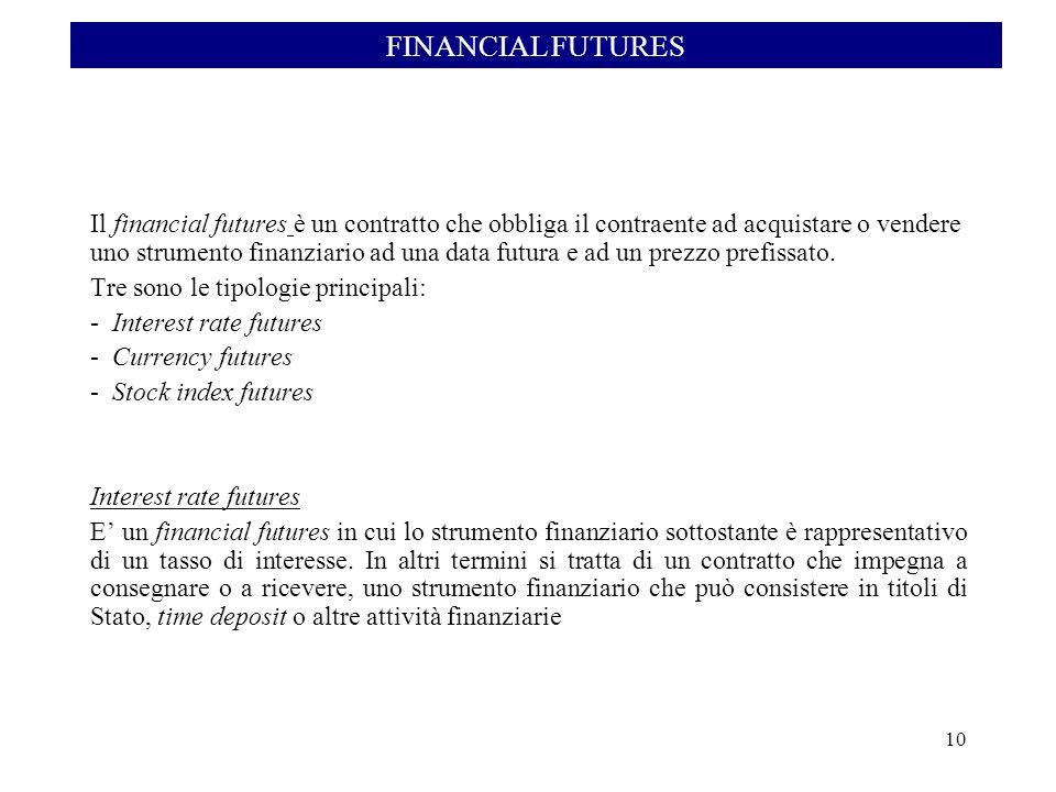 Il financial futures è un contratto che obbliga il contraente ad acquistare o vendere uno strumento finanziario ad una data futura e ad un prezzo pref