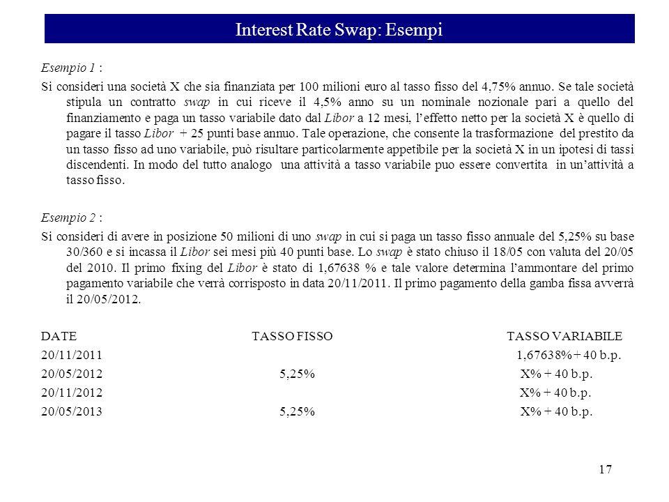 Esempio 1 : Si consideri una società X che sia finanziata per 100 milioni euro al tasso fisso del 4,75% annuo. Se tale società stipula un contratto sw