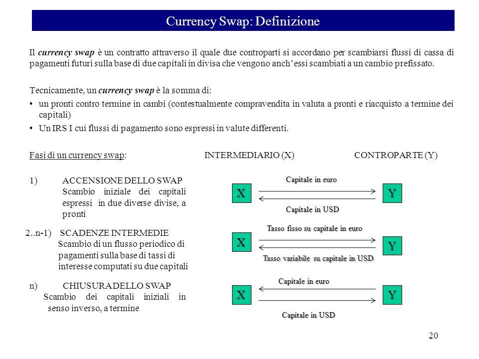 Il currency swap è un contratto attraverso il quale due controparti si accordano per scambiarsi flussi di cassa di pagamenti futuri sulla base di due