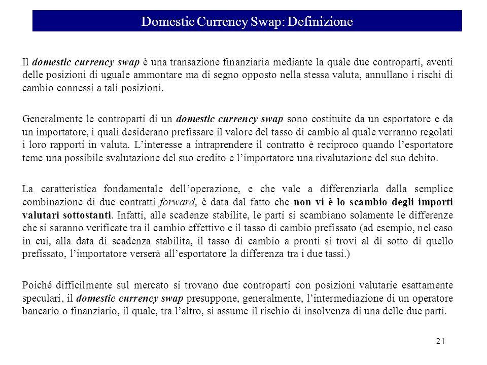 Il domestic currency swap è una transazione finanziaria mediante la quale due controparti, aventi delle posizioni di uguale ammontare ma di segno oppo