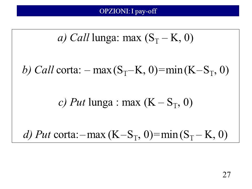 27 a) Call lunga: max (S T – K, 0) b) Call corta: – max (S T – K, 0) = min (K – S T, 0) c) Put lunga : max (K – S T, 0) d) Put corta: – max (K – S T,
