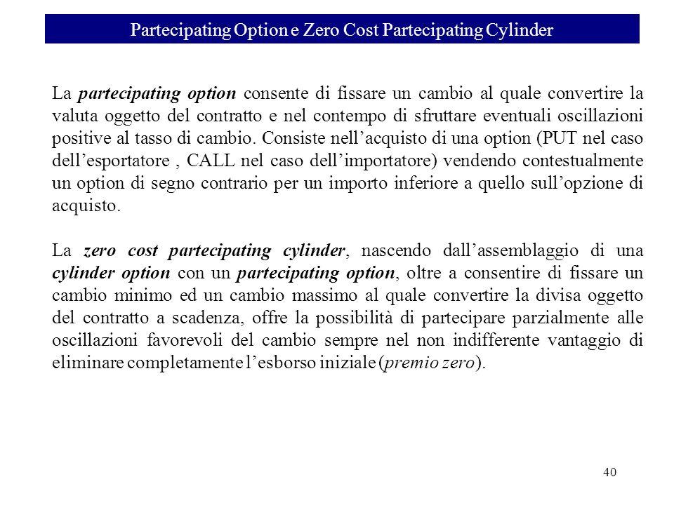 La partecipating option consente di fissare un cambio al quale convertire la valuta oggetto del contratto e nel contempo di sfruttare eventuali oscill