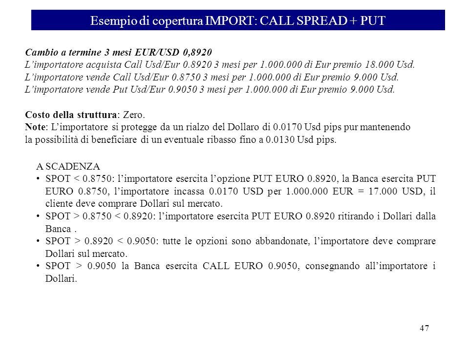 Esempio di copertura IMPORT: CALL SPREAD + PUT 48 A SCADENZA SPOT < 0.8750: limportatore esercita lopzione PUT EURO 0.8920, la Banca esercita PUT EURO 0.8750, limportatore incassa 0.0170 USD per 1.000.000 EUR = 17.000 USD, il cliente deve comprare Dollari sul mercato.