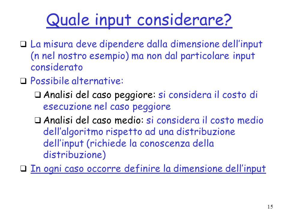 15 Quale input considerare? La misura deve dipendere dalla dimensione dellinput (n nel nostro esempio) ma non dal particolare input considerato Possib
