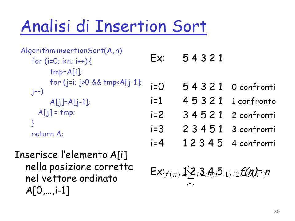 20 Analisi di Insertion Sort Algorithm insertionSort(A, n) for (i=0; i<n; i++) { tmp=A[i]; for (j=i; j>0 && tmp<A[j-1]; j--) A[j]=A[j-1]; A[j] = tmp; } return A; Inserisce lelemento A[i] nella posizione corretta nel vettore ordinato A[0,…,i-1] Ex: i= confronti i= confronto i= confronti i= confronti i= confronti Ex: f(n)= n