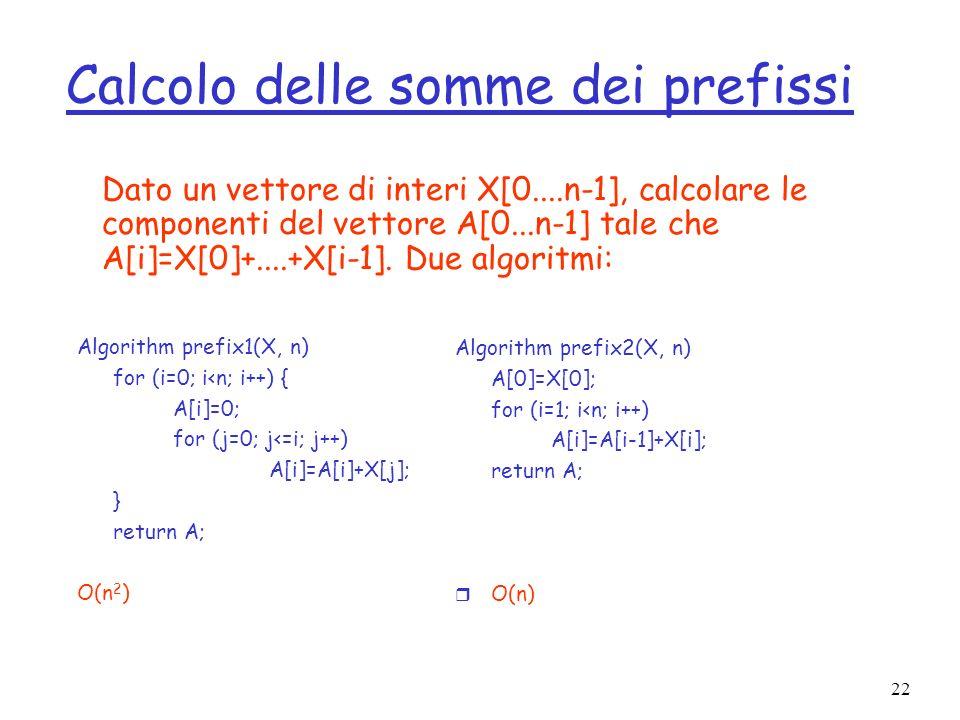 22 Calcolo delle somme dei prefissi Dato un vettore di interi X[0....n-1], calcolare le componenti del vettore A[0...n-1] tale che A[i]=X[0]+....+X[i-