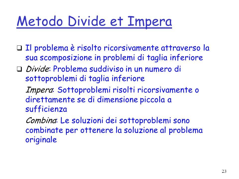 23 Metodo Divide et Impera Il problema è risolto ricorsivamente attraverso la sua scomposizione in problemi di taglia inferiore Divide: Problema suddi