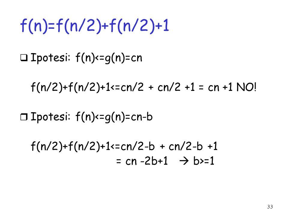 33 f(n)=f(n/2)+f(n/2)+1 Ipotesi: f(n)<=g(n)=cn f(n/2)+f(n/2)+1<=cn/2 + cn/2 +1 = cn +1 NO! Ipotesi: f(n)<=g(n)=cn-b f(n/2)+f(n/2)+1<=cn/2-b + cn/2-b +