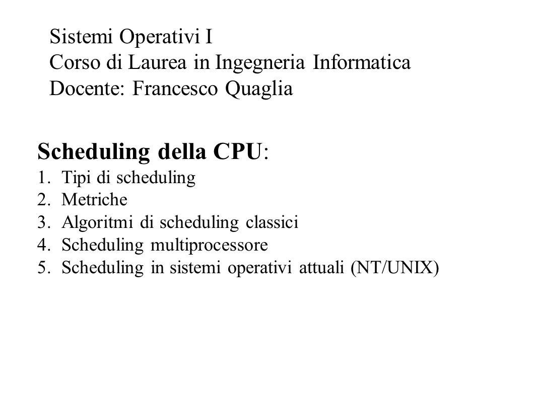 Scheduling della CPU: 1.Tipi di scheduling 2.Metriche 3.Algoritmi di scheduling classici 4.Scheduling multiprocessore 5.Scheduling in sistemi operativ