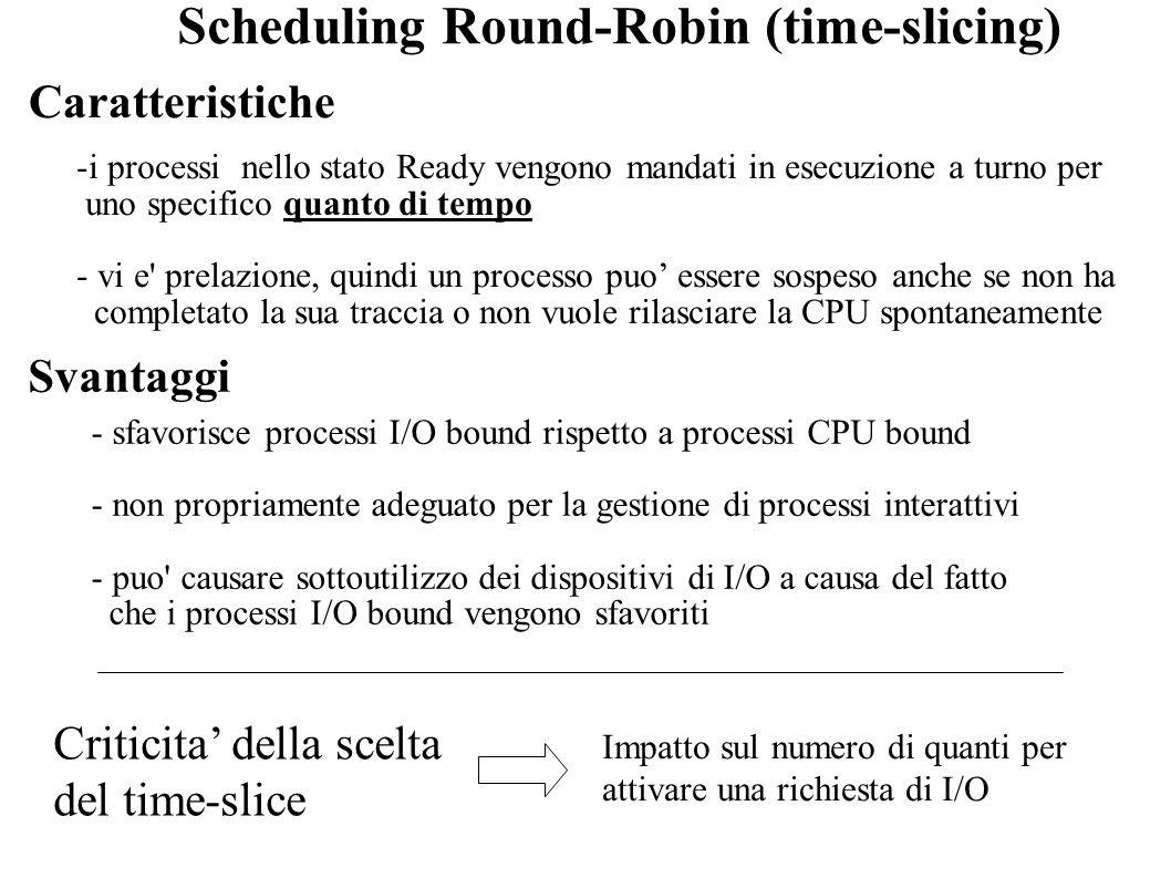 Scheduling Round-Robin (time-slicing) -i processi nello stato Ready vengono mandati in esecuzione a turno per uno specifico quanto di tempo - vi e' pr