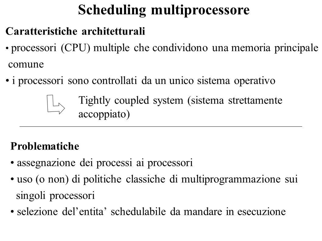 Scheduling multiprocessore Caratteristiche architetturali processori (CPU) multiple che condividono una memoria principale comune i processori sono co