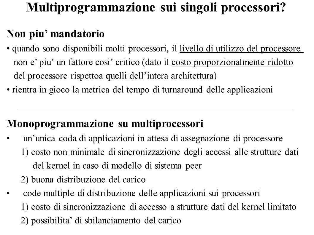 Multiprogrammazione sui singoli processori? Non piu mandatorio quando sono disponibili molti processori, il livello di utilizzo del processore non e p