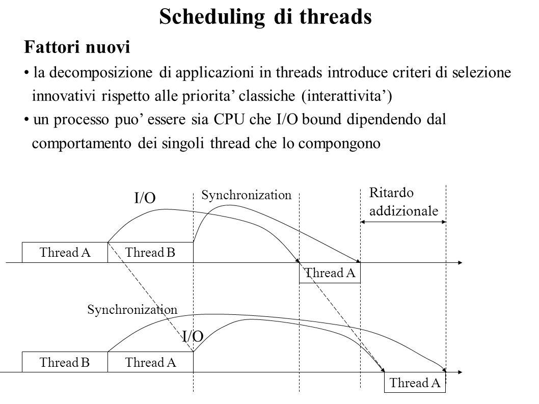 Scheduling di threads Fattori nuovi la decomposizione di applicazioni in threads introduce criteri di selezione innovativi rispetto alle priorita clas