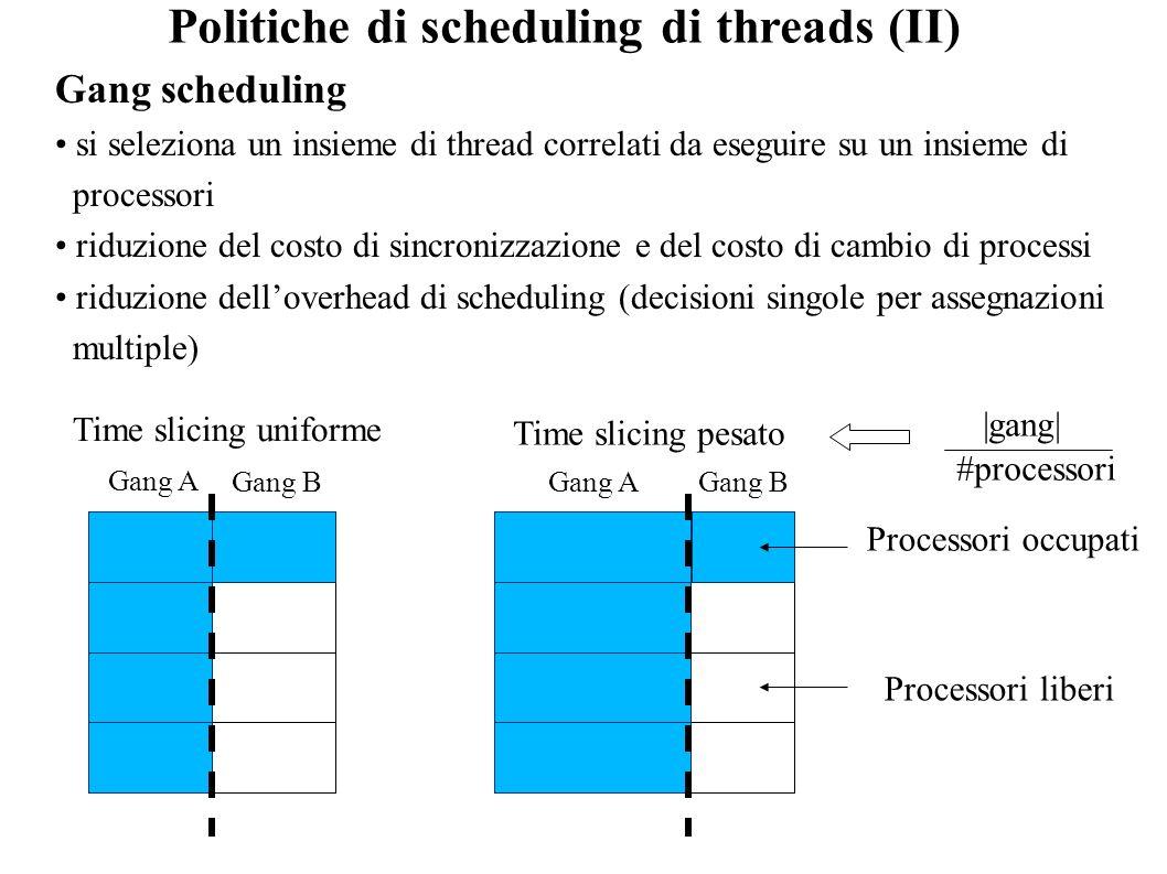 Gang scheduling si seleziona un insieme di thread correlati da eseguire su un insieme di processori riduzione del costo di sincronizzazione e del cost