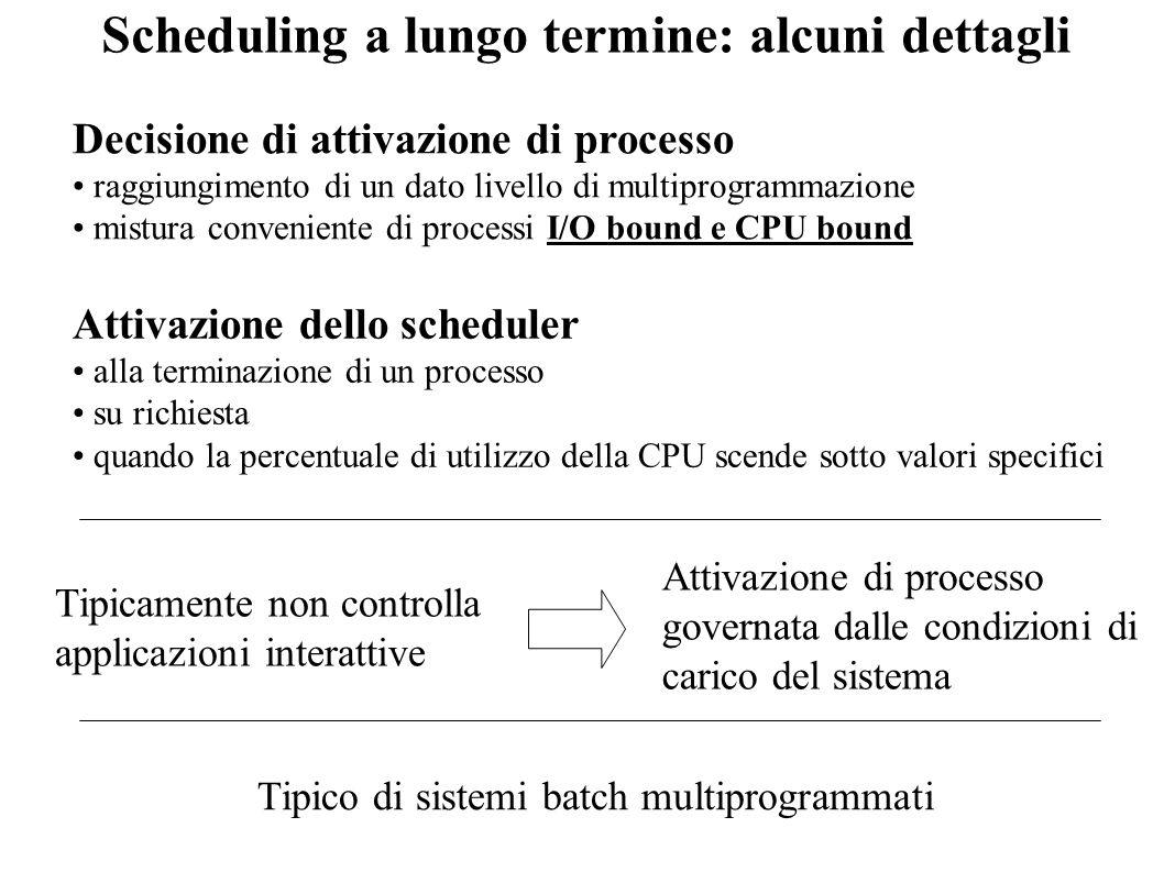Scheduling a lungo termine: alcuni dettagli Decisione di attivazione di processo raggiungimento di un dato livello di multiprogrammazione mistura conv