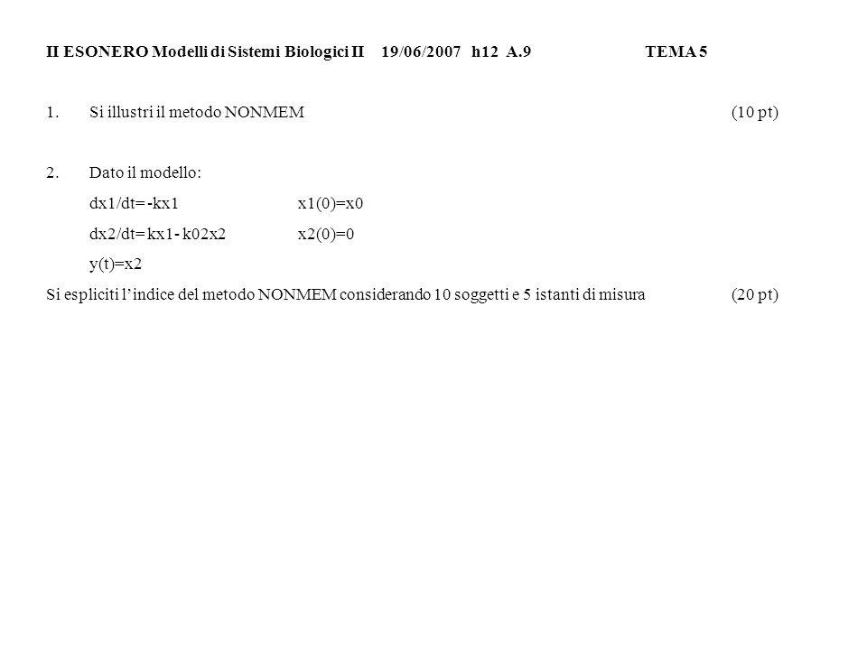 II ESONERO Modelli di Sistemi Biologici II 19/06/2007h12 A.9TEMA 6 1.Criteri di validazione dei modelli(10 pt) 2.Dato il modello: dx1/dt= -kx1+kx2x1(0)=x0 dx2/dt= kx1- (k02+k)x2x2(0)=0 y(t)=x1 Si imposti il metodo di stima dei parametri NPD considerando che i dati sperimentali derivino da 5 soggetti e gli istanti di misura siano pari a 10.