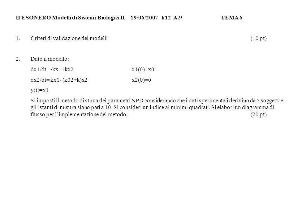 II ESONERO Modelli di Sistemi Biologici II 19/06/2007h12 A.9TEMA 6 1.Criteri di validazione dei modelli(10 pt) 2.Dato il modello: dx1/dt= -kx1+kx2x1(0