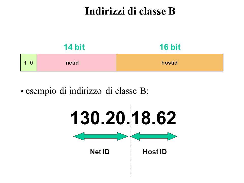 Ethernet (200.10.2.-) Host A Host B 200.10.2.7 200.10.2.32 gateway (router) 200.10.2.70 Resto di Internet Distinzione degli host in classe C