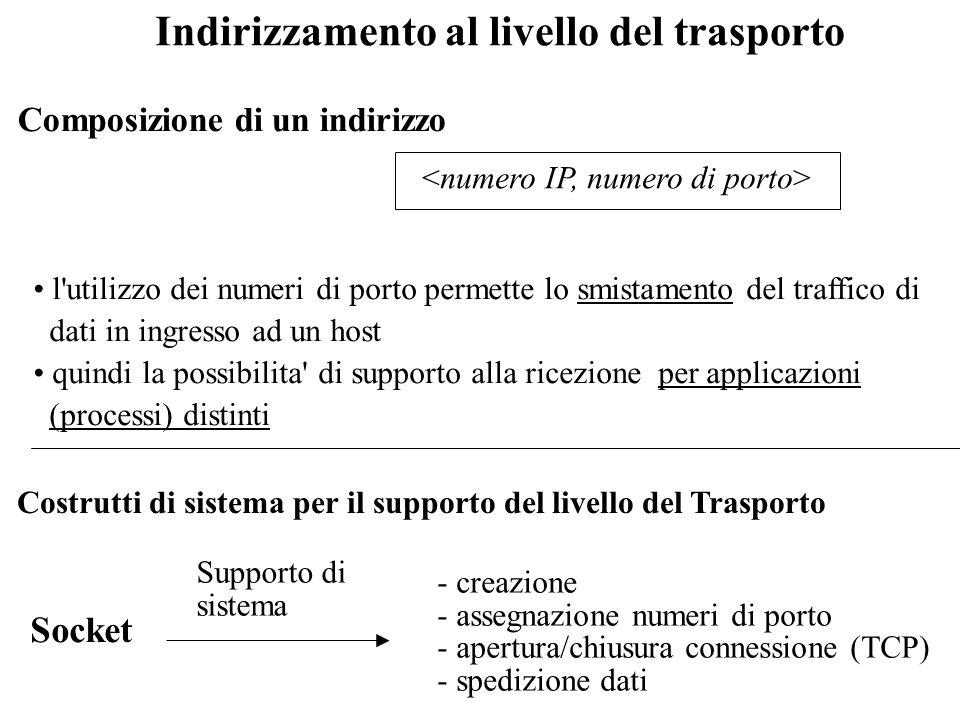 Il livello del Trasporto Supporta realmente trasferimento di dati tra processi (il livello rete supporta solo trasferimento tra host) Protocolli stand