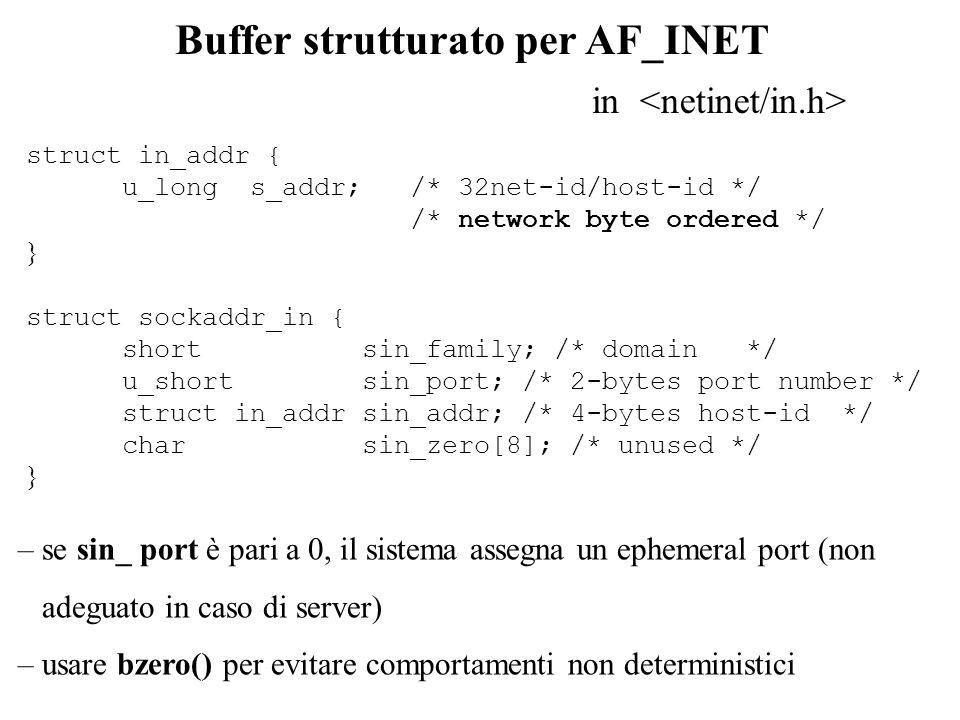 int bind(int ds_sock, struct sockaddr *my_addr, int addrlen) Descrizione invoca l assegnazione di un indirizzo al socket Argomenti 1) ds_sock: descrittore di socket 2) *my_addr: puntatore al buffer che specifica l indirizzo 3) addrlen: lunghezza (in byte) dell indirizzo Restituzione -1 in caso di fallimento Assegnazione di un indirizzo il terzo parametro serve per specificare la taglia esatta dellindirizzo rispetto al dominio di interesse il buffer strutturato di tipo sockaddr è dimensionato in modo da poter contenere indirizzi appartenenti al dominio per cui la loro specifica richiede il massimo numero di byte (unica eccezione è il dominio AF_UNIX)