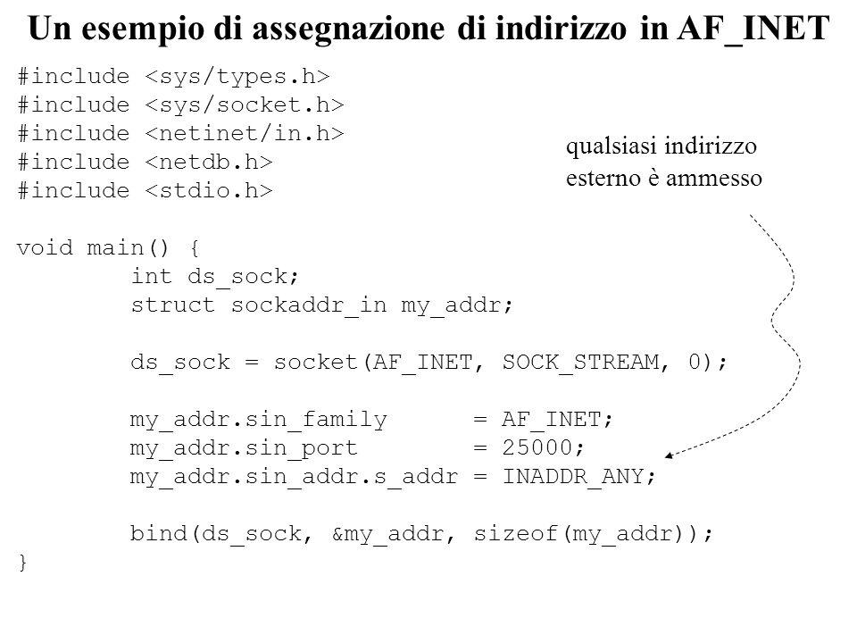 Buffer strutturato per AF_INET struct sockaddr_in { short sin_family; /* domain */ u_short sin_port; /* 2-bytes port number */ struct in_addr sin_addr; /* 4-bytes host-id */ char sin_zero[8]; /* unused */ } struct in_addr { u_long s_addr; /* 32net-id/host-id */ /* network byte ordered */ } in – se sin_ port è pari a 0, il sistema assegna un ephemeral port (non adeguato in caso di server) – usare bzero() per evitare comportamenti non deterministici