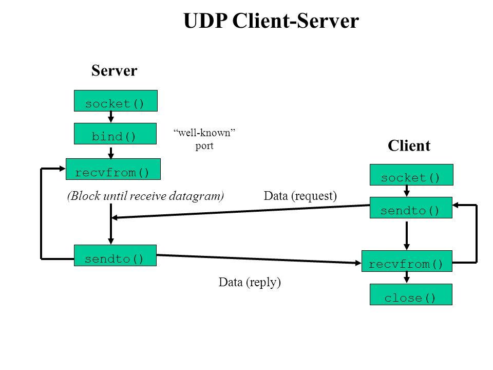 TCP Client-Server socket() bind() listen() accept() socket() connect() send() recv() Client (Block until connection ) Handshake recv() send() Data (request) Data (reply) close() End-of-session close() well-known port Server recv()