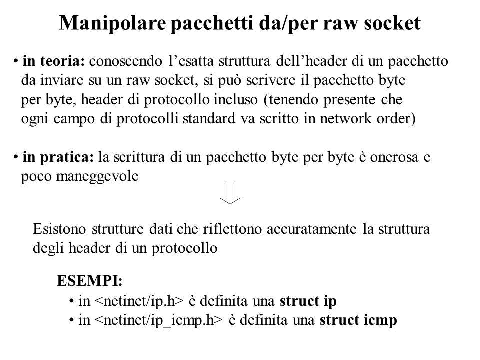 Scrittura su un raw socket la spedizione di pacchetti IP da una raw socket avviene tramite la system call sendto() il modo in cui la socket interpreta il pacchetto da spedire dipende dal valore dellopzione IP_HDRINCL se IP_HDRINCL non è attivo il pacchetto passato al raw socket viene interpretato come il contenuto di un pacchetto IP.