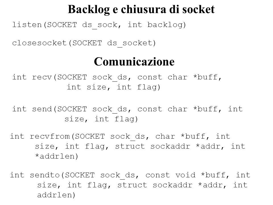 int connect(SOCKET ds_socks, struct sockaddr *addr, int addrlen) Connessioni Descrizione invoca la connessione su un socket Argomenti ds_sock: descrittore del socket locale *addr: puntatore al buffer contenente l indirizzo del socket al quale ci si viole connettere addrlen: la taglia dell indirizzo del socket al quale ci si vuole connettere Restituzione 0 per una connessione corretta, SOCKET_ERROR in caso di errore