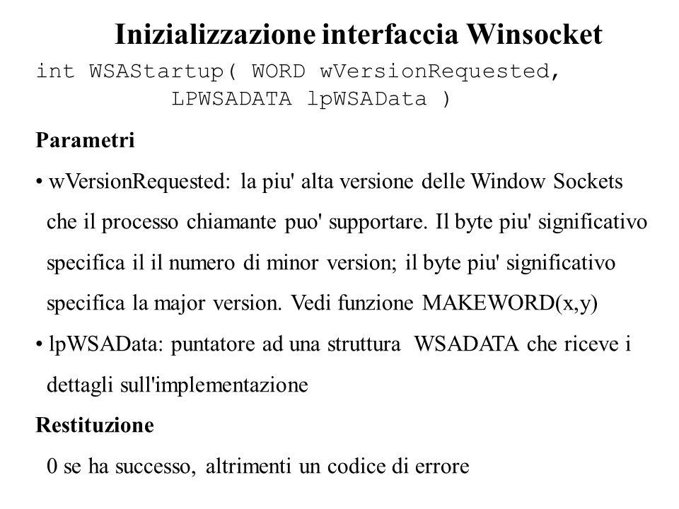 listen(SOCKET ds_sock, int backlog) Backlog e chiusura di socket closesocket(SOCKET ds_socket) Comunicazione int recv(SOCKET sock_ds, const char *buff