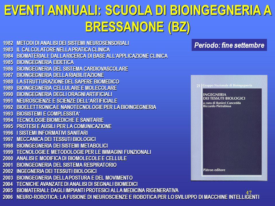 47 EVENTI ANNUALI: SCUOLA DI BIOINGEGNERIA A BRESSANONE (BZ) 1982METODI DI ANALISI DEI SISTEMI NEUROSENSORIALI 1983IL CALCOLATORE NELLA PRATICA CLINIC