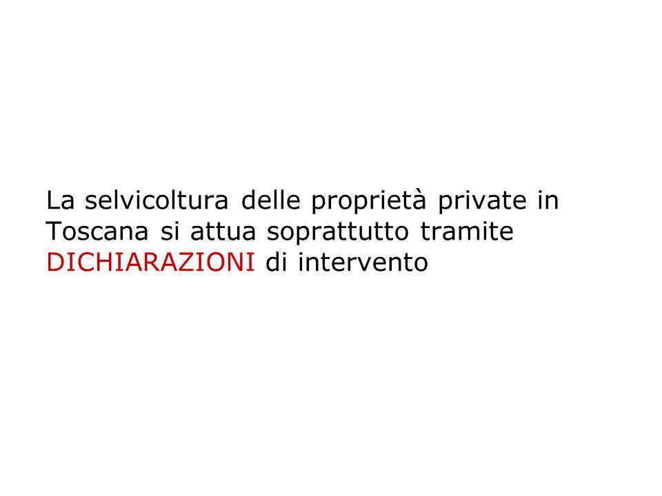 Arezzo e Grosseto sono le province toscane ove si riscontra il maggior numero di istanze di interventi selvicolturali Per la Provincia di Arezzo nel 2009 il rapporto tra dichiarazioni e autorizzazioni è di 3:1 in numero e di poco meno di 2:1 in termini di superficie la superficie media di ciascuna dichiarazione di intervento è di 3 ettari
