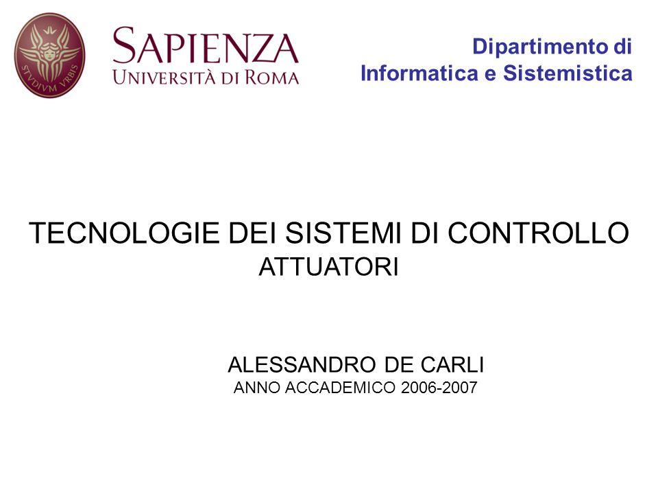 TECNOLOGIE DEI SISTEMI DI CONTROLLO ATTUATORI ALESSANDRO DE CARLI ANNO ACCADEMICO 2006-2007 Dipartimento di Informatica e Sistemistica