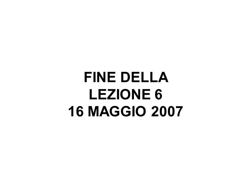 FINE DELLA LEZIONE 6 16 MAGGIO 2007